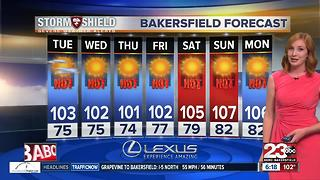 Scattered showers are ending, triple digits are remaining