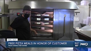 Free pizza meals in honor of customer