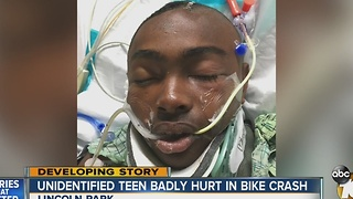 Unidentified teen badly hurt in bike crash - Video