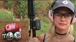 American Girl Fed Up w/ Fake News Outlets, Uses AR15 to Targets Who She Believes is Responsible!!!!!