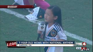 7-year-old girl wows with National Anthem