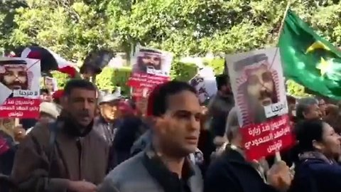 Protests Against Saudi Crown Prince Continue In Tunisia