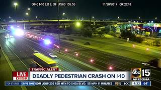 Pedestrian killed on Interstate 10 in Tempe - Video