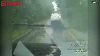 Tree Falls On Car During Hurricane Weather - Video