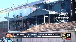Multiple rowhomes damaged during large Dundalk fire - Video