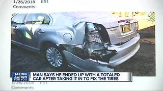 Metro Detroit man says Belle Tire totaled his car, left him out thousands - Video