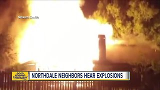 Flamethrowers inside house during fire