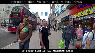 Rappers perform epic walking freestyle along Oxford Street - Video