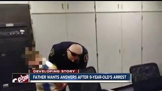9-year-old boy led away in handcuffs after his arrest at elementary school - Video