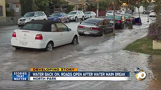 Roads open, water back on in North Park after main break