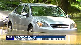 Water main break causes flooding in Midtown Detroit - Video