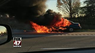 Car catches fire on I-96
