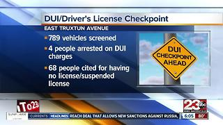 DUI / Driver's License Checkpoint yields four arrests in east Bakersfield