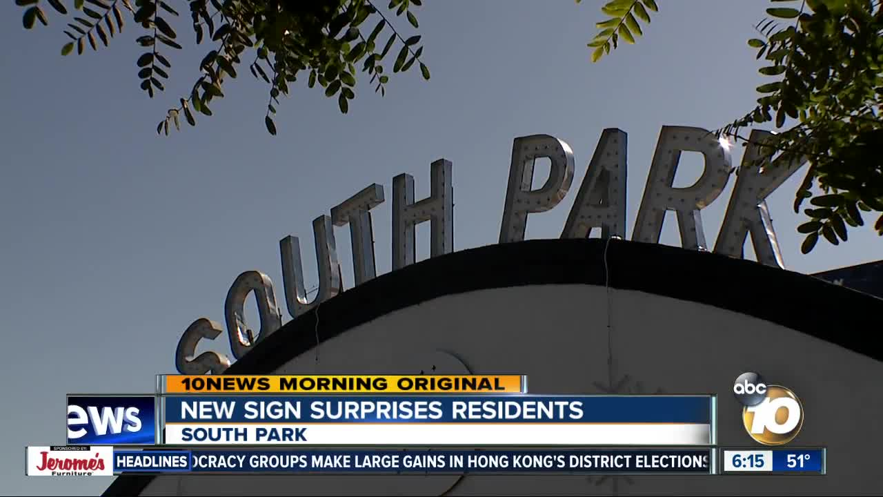 South Park neighborhood gets iconic sign - for now