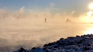 Sea Smoke Rises Over Lake Superior in Duluth - Video