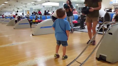 Cute Toddler LOVES Bowling