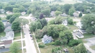 Drone flight over cherry valley