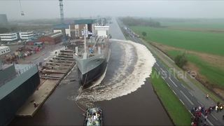 Amazing drone footage of cargo ship launch - Video