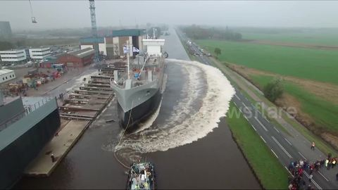 Amazing drone footage of cargo ship launch