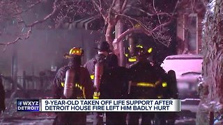 9-year-old taken off life support after Detroit house fire