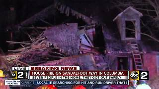 Howard Co. Fire at the scene of house fire in Columbia - Video