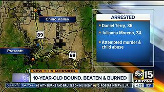 Child found bound, beaten and burned - Video