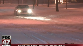 Snowy conditions cause multiple crashes - Video