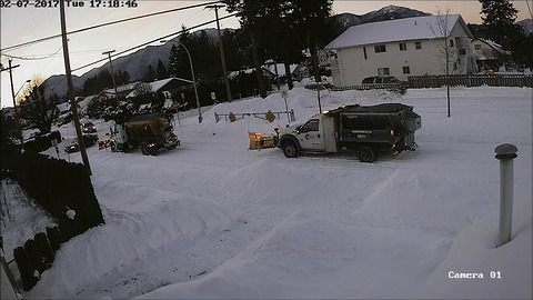 Security cam captures crazy 'Snowmageddon' events in BC town