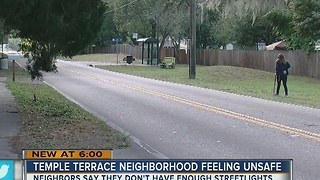 Temple Terrace neighborhood says they need more streetlights - Video