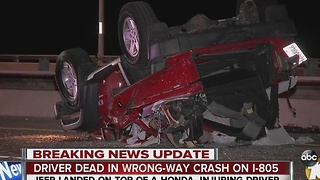 Wrong-way I-805 driver killed in violent wreck - Video