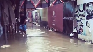 Tropical Storm Kai-Tek Floods Streets Outside Boracay Hotel - Video