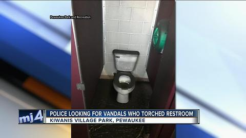 Police looking for vandals who torched Pewaukee restroom