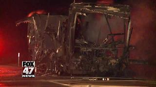 UPDATE: I-96 reopens after camper fire - Video