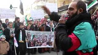 Douma Residents Protest As Ceasefire Comes Into Force - Video
