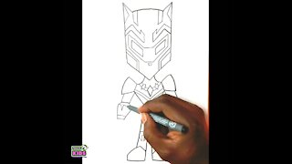 Timelapse drawing of Black Panther