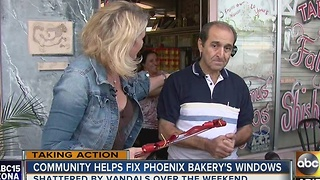 Community comes together to fix Phoenix bakery's windows - Video