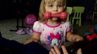 Toddler pretends to be a dog - Video