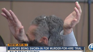 Jurors being sworn-in for murder-for-hire trial - Video