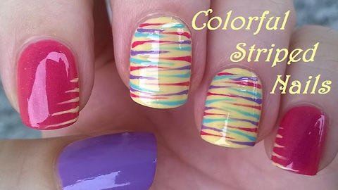 Easy striped nail design over pink & yellow nails