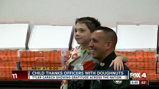 Florida boy brings his mission to thank law enforcement to Fort Myers - Video