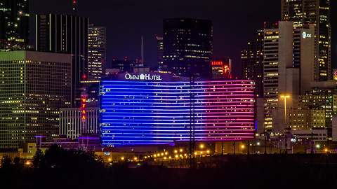 Hotel in Dallas lights up in support of France