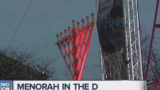 Jewish community celebrating Menorah in the D - Video