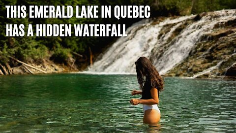 Quebec Has An Emerald River & You Can Swim At Its Waterfall If You Can Find It