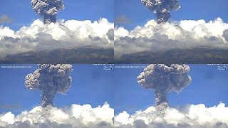 Mexico's Popocatepetl Volcano Sends 2.5km Ash Column Into Air - Video