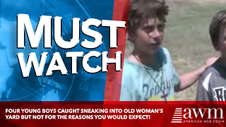 Four young boys caught sneaking into old woman's yard but not for the reasons you would expect! - Video