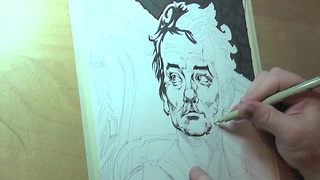 Time lapse: Incredibly detailed portait of Bill Murray - Video