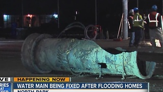 Water main break being fixed after flooding homes in North Park - Video
