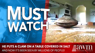 He Puts A Clam On A Table Covered In Salt, Video Has Been Seen By 2 Million People Already - Video
