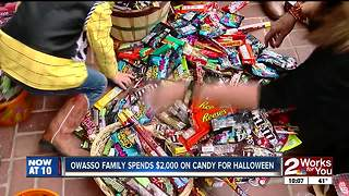 Owasso family spends $2000 on candy for halloween - Video