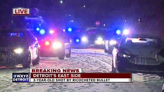 Police: 3-year-old shot by ricocheted bullet on Detroit's east side